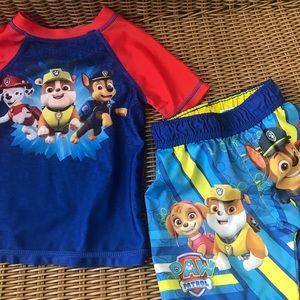 Paw Patrol 3T rash guard top and swim trunks